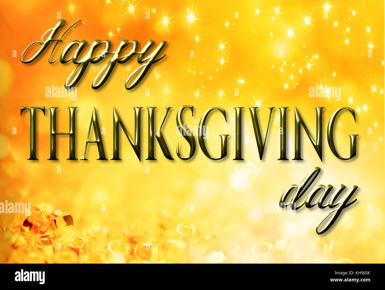 Abstract holiday gold background with thanksgiving greetings - Stock Image