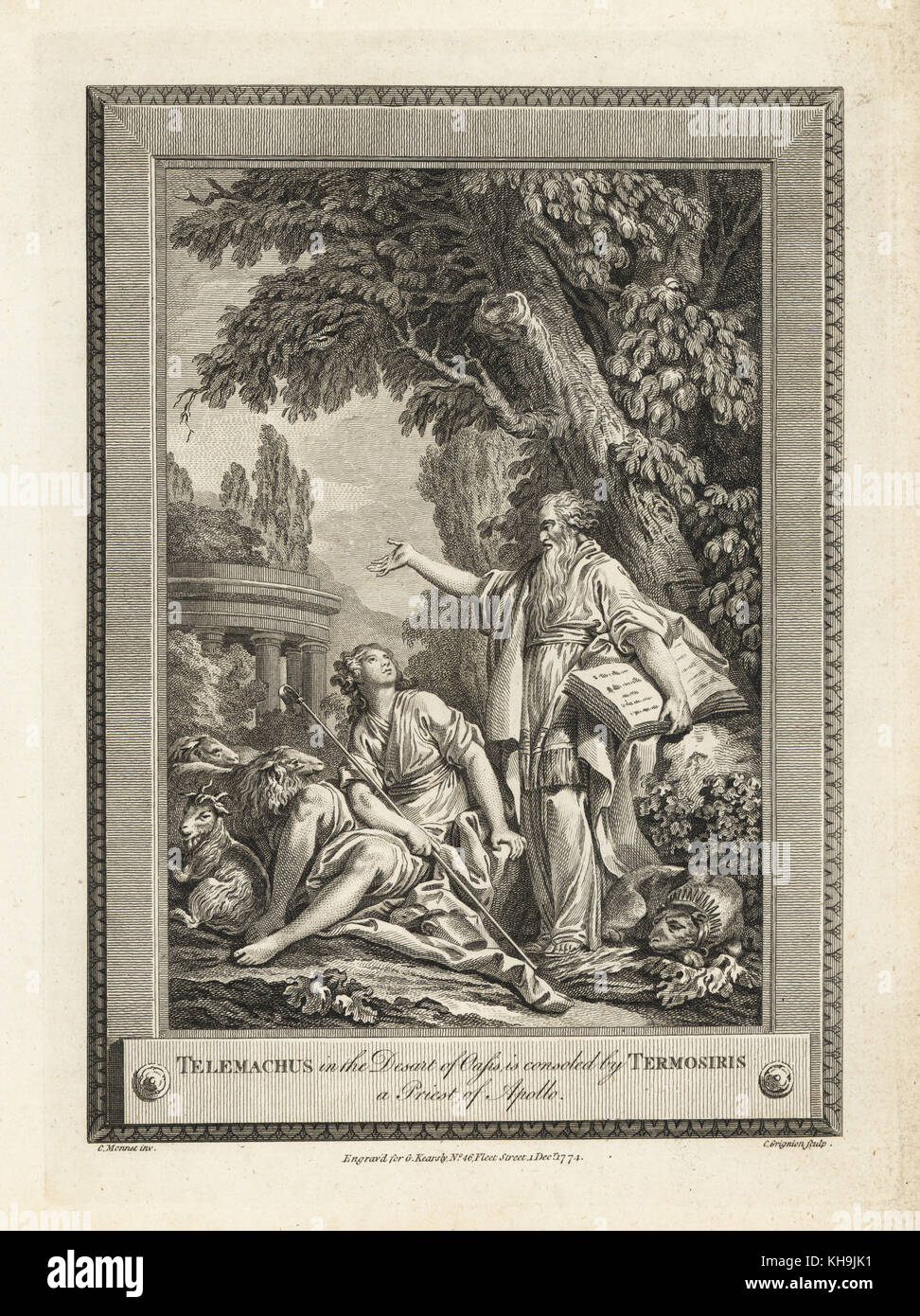 Telemachus in the desert of oasis is consoled by Termosiris, a priest of Apollo. Copperplate engraving by C. Grignion - Stock Image