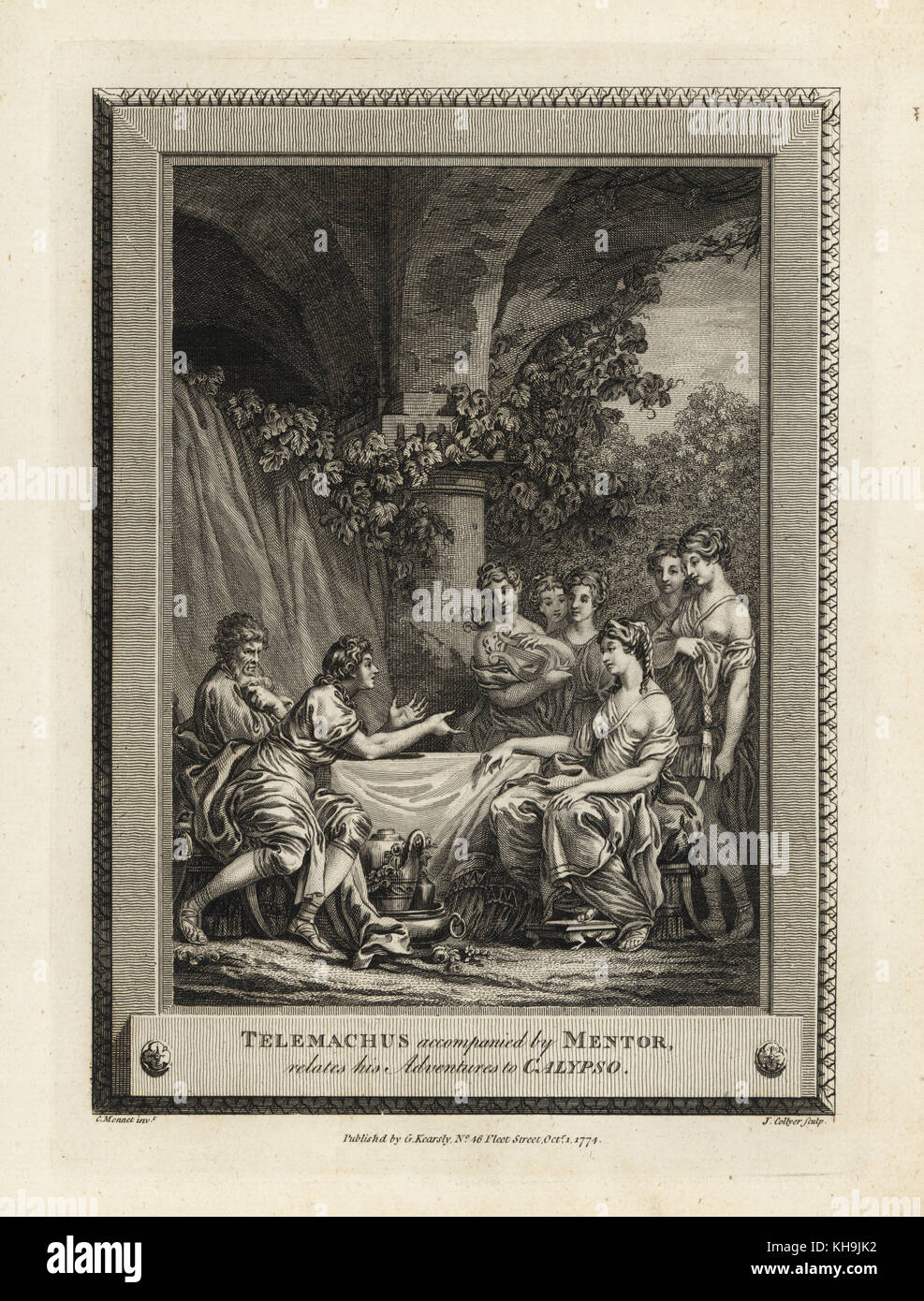 Telemachus accompanied by Mentor narrates his adventures to Calypso. Copperplate engraving by J. Collyer after an - Stock Image