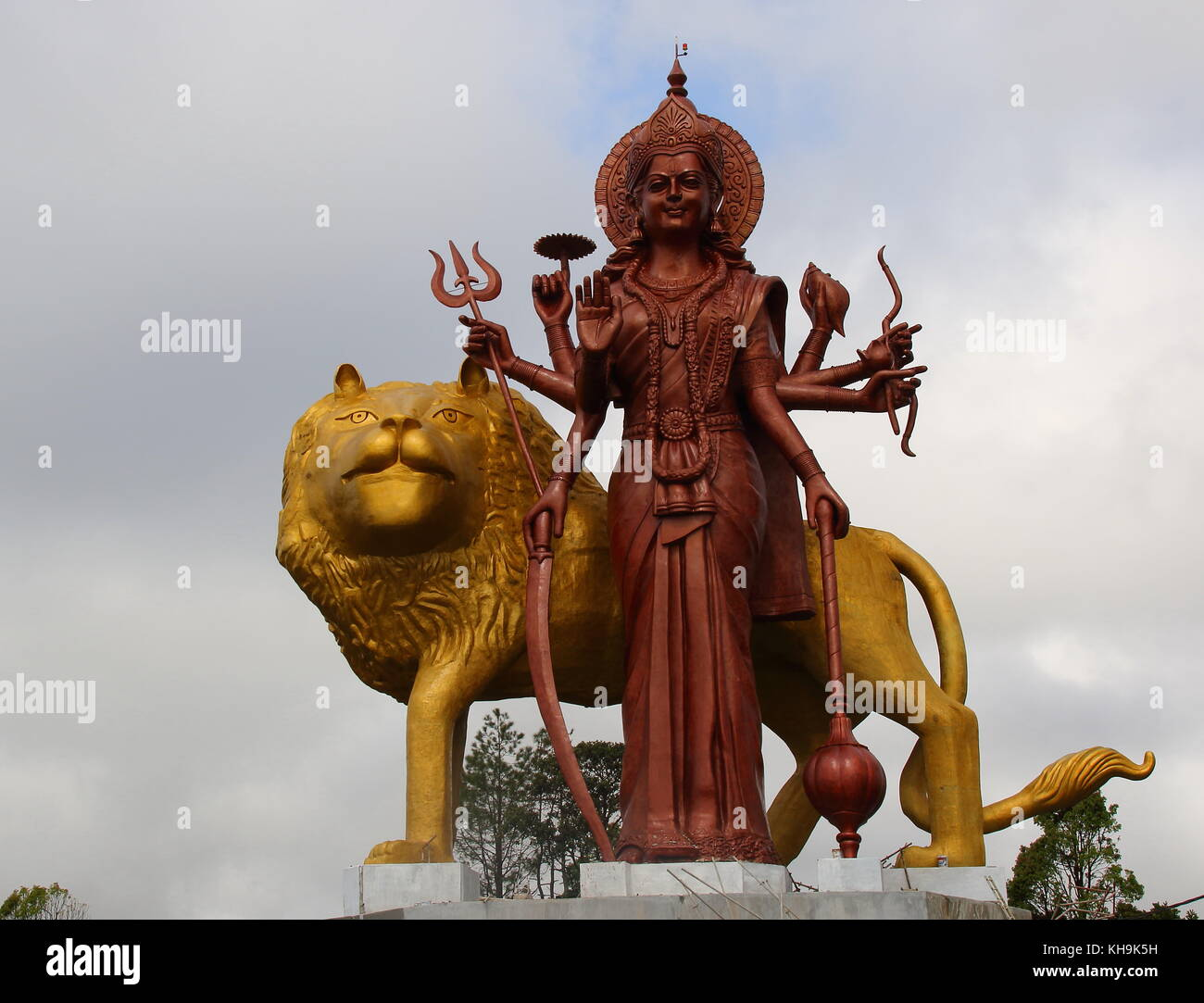 Grand Bassin, Mauritius, Hindu deity statues around the Sacred Lake are a major tourist attraction on the Indian - Stock Image