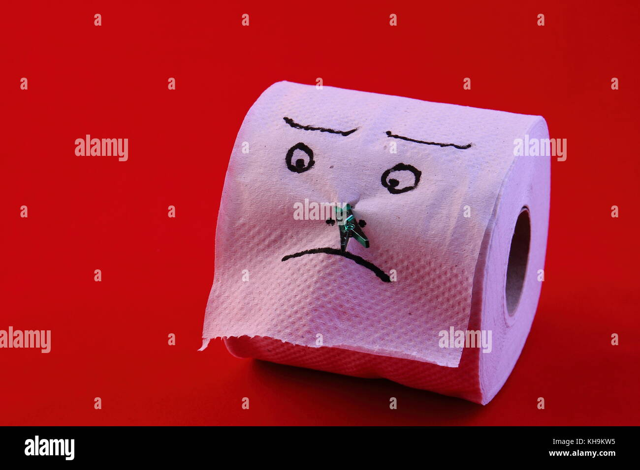 Humor concept - toilet roll with a face drawn on it and a washing peg on the nose in landscape format with copy - Stock Image