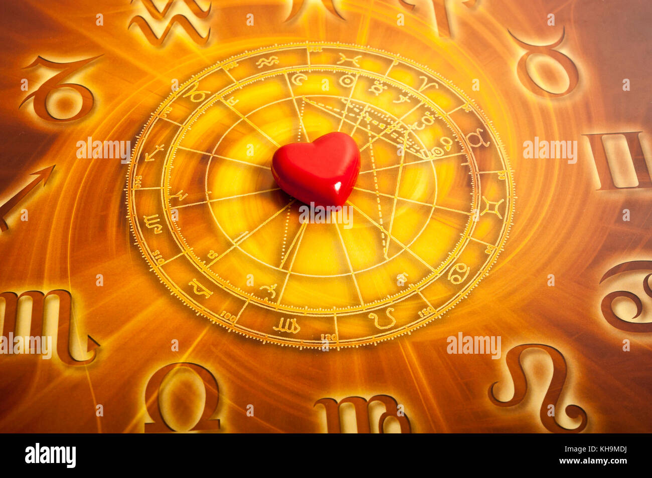astrology chart with zodiac signs and heart, love for astrology concept - Stock Image