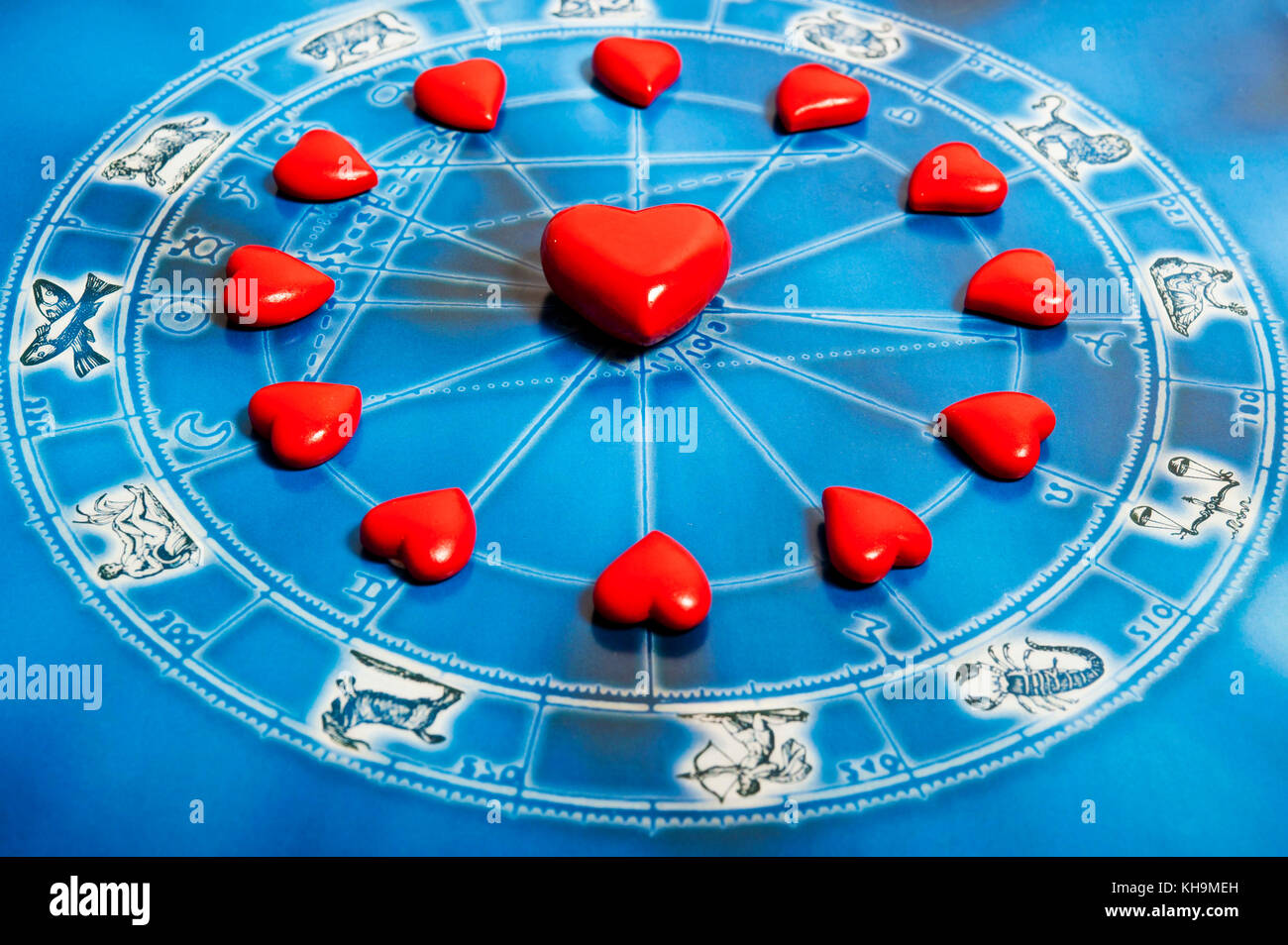astrology chart with all zodiac signs and hearts, love for astrology concept - Stock Image