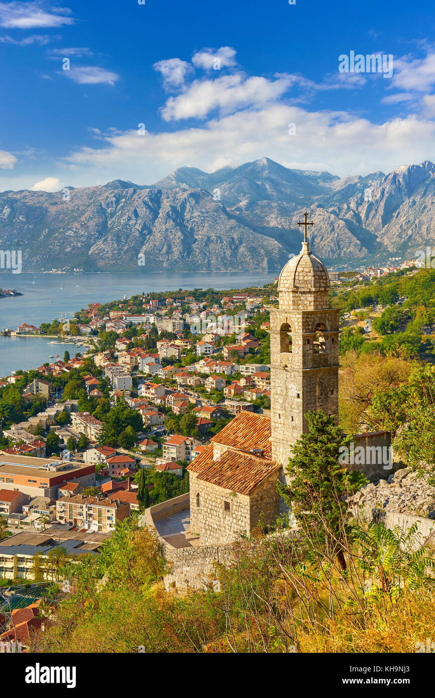 Aerial view of Kotor balkan village, Montenegro Stock Photo