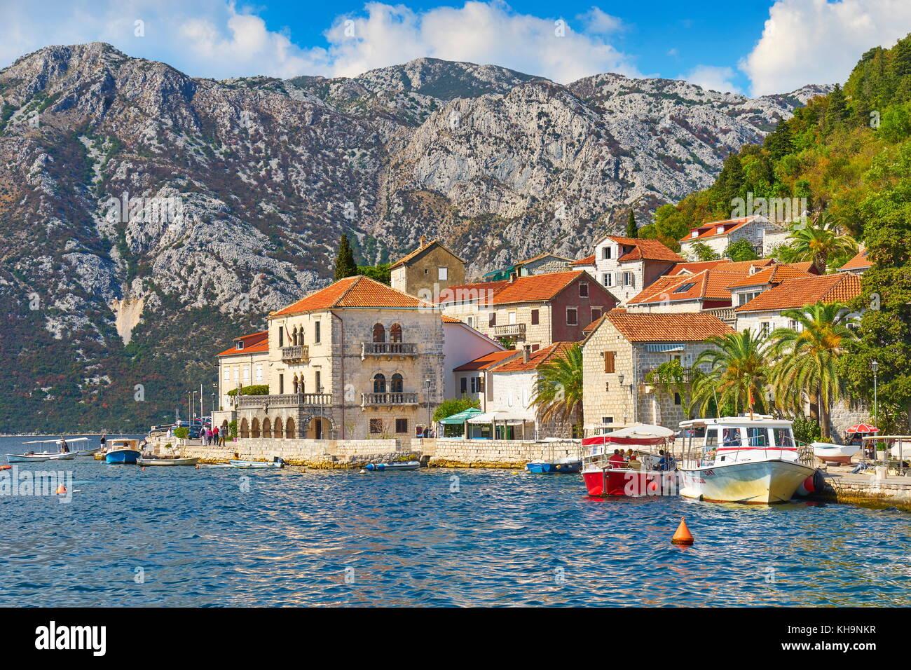 Perast balkan village mountain landscape, Kotor Bay, Montenegro - Stock Image