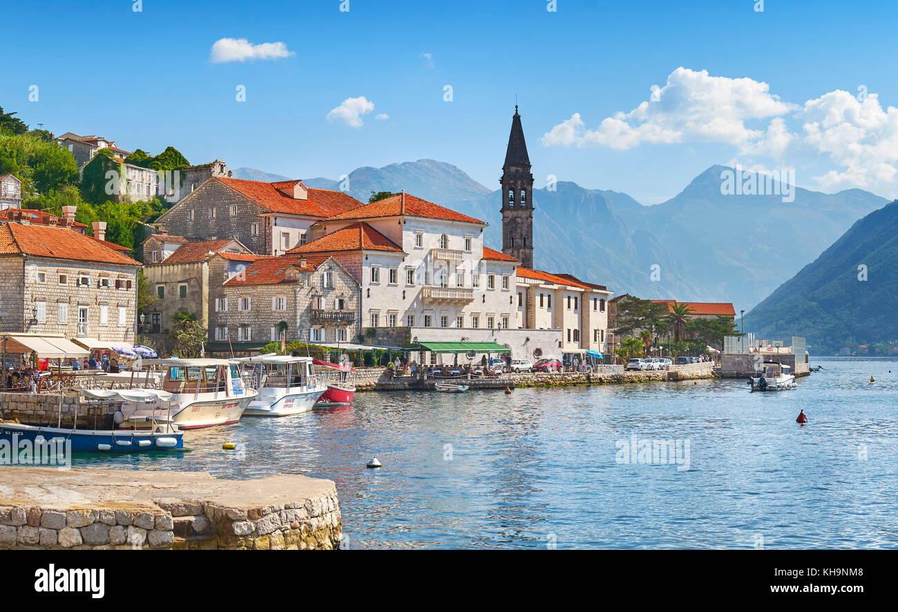 Montenegro, Perast balkan village mountain landscape, Kotor Bay - Stock Image