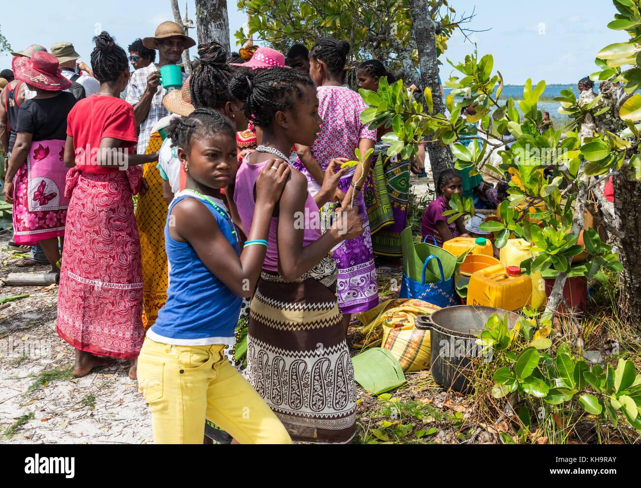 Two Young Girls At A Zebu Sacrifice Ceremony, Lake
