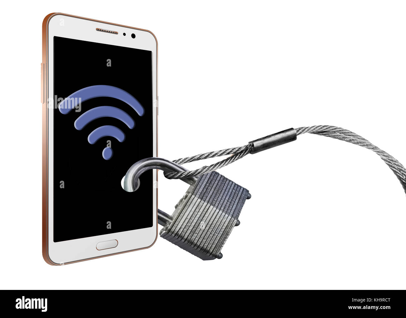 Cell phone security and preventing signal theft is the theme of this illustration. Wi-fi signals, Bluetooth and - Stock Image