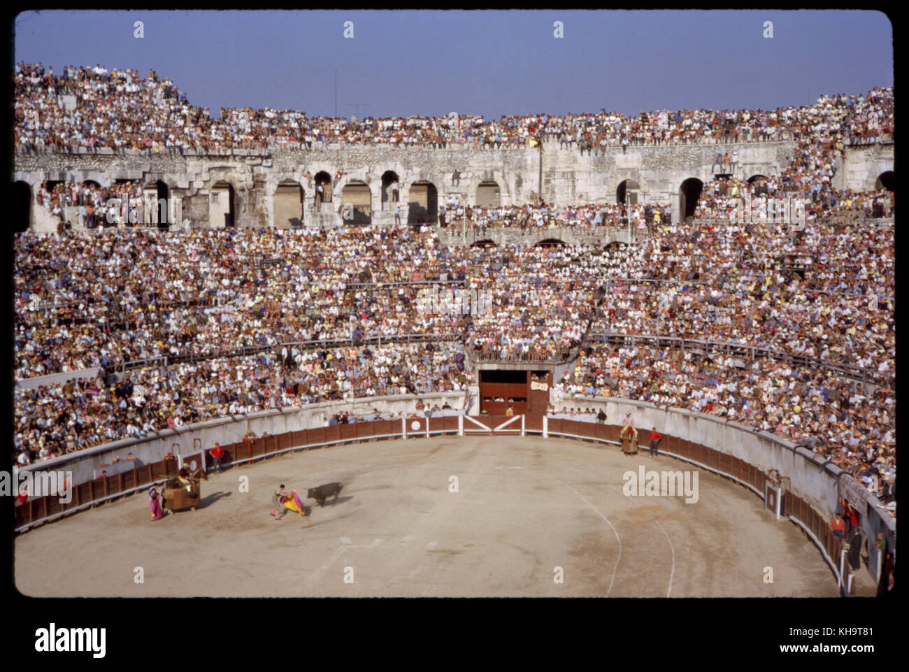 Bullfight and Arena, Nimes, France, 1961 - Stock Image