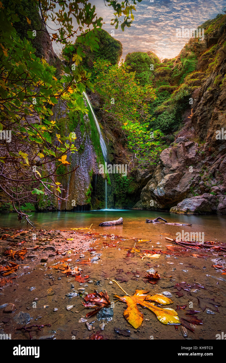 Waterfall in the gorge of Richtis at autumn, Crete, Greece. - Stock Image