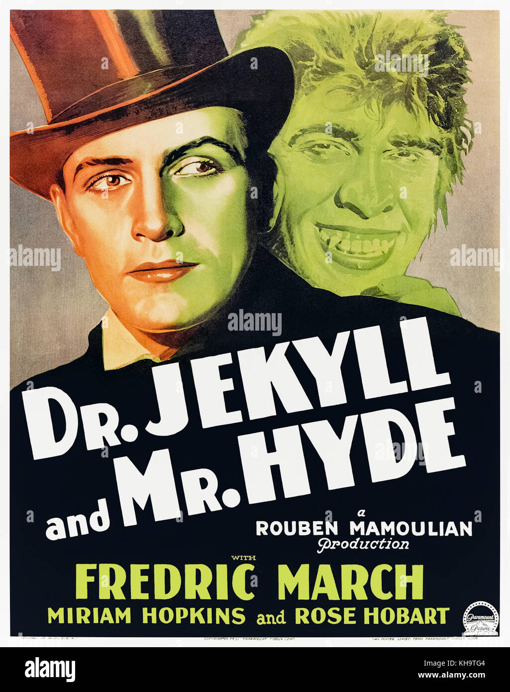 Dr. Jekyll and Mr. Hyde (1931) directed by Rouben Mamoulian and starring Fredric March, Miriam Hopkins and Rose - Stock Image