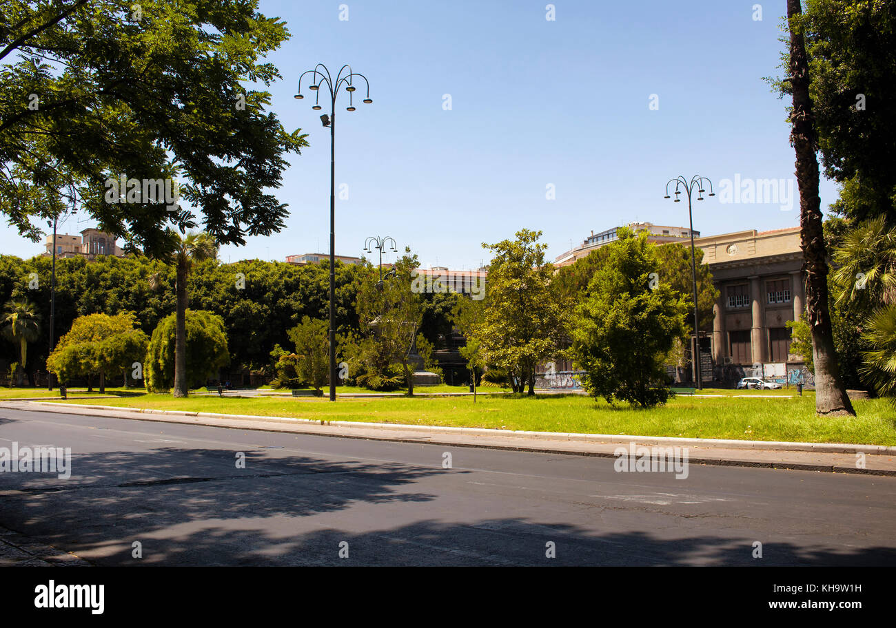 Park and sreet view in Catania / Italy. - Stock Image