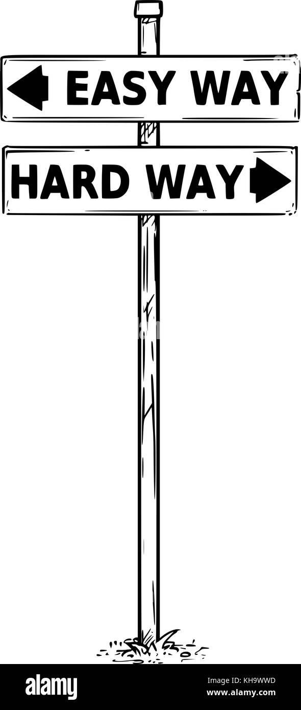 Vector drawing of easy or hard way decision traffic arrow sign. - Stock Image