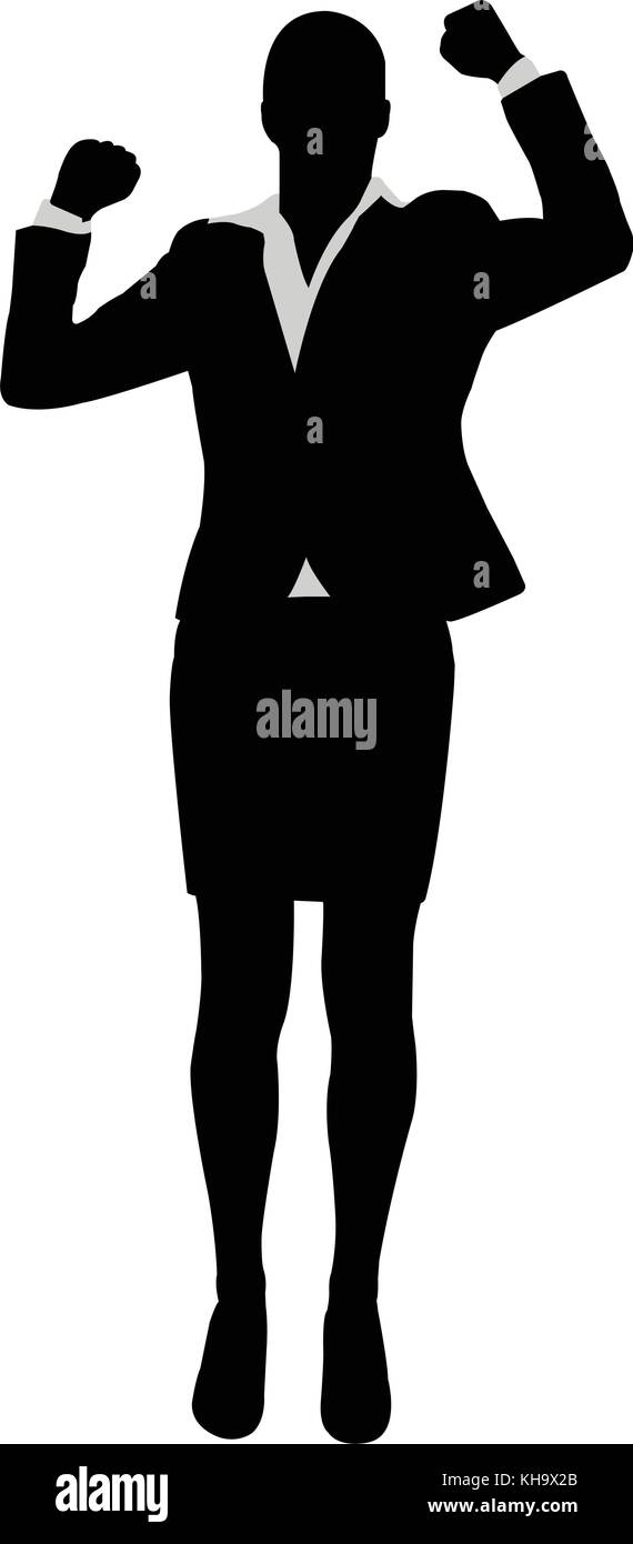 businesswoman with her hands up, celebrating success - vector - Stock Vector