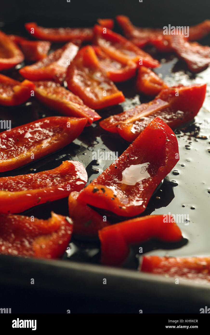 Red Bell Pepper slices - Stock Image