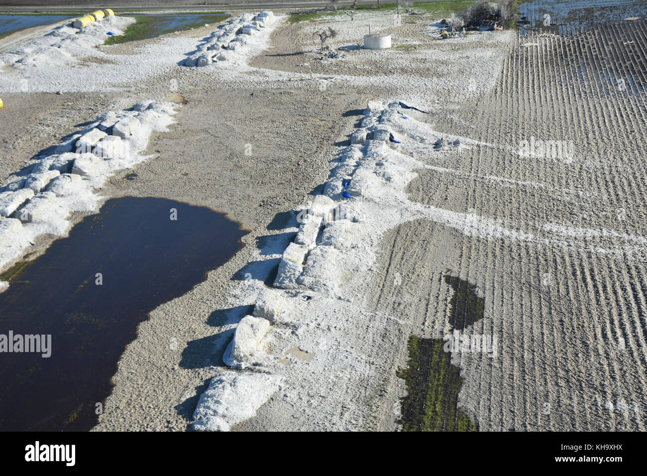 Cotton modules destroyed by Hurricane Harvey in Refugio County, Texas - Stock Image