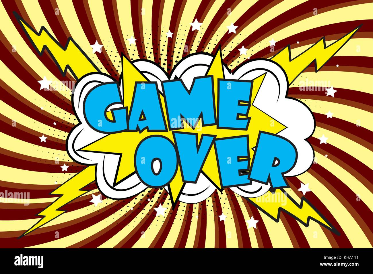 Game Over Comic sound effects in pop art style  Burst best