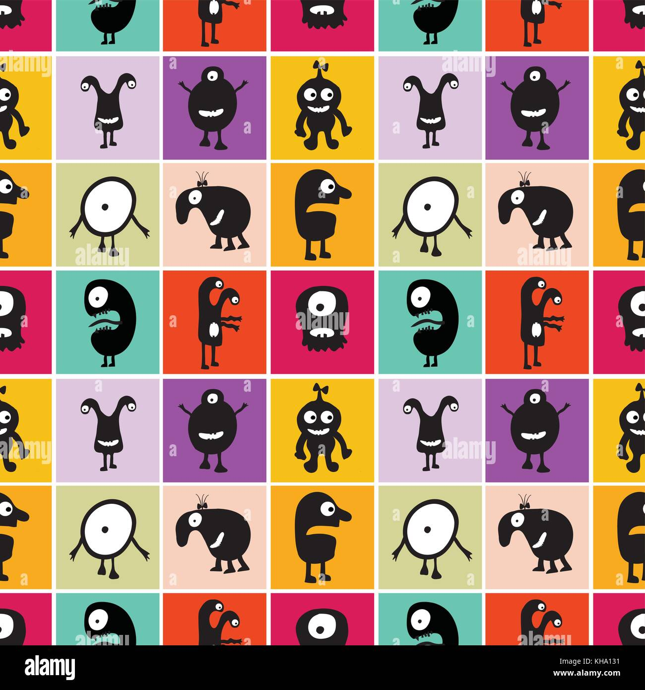 Seamless pattern black monsters with emotions on different color backgrounds, cartoon vector illustration Stock Vector