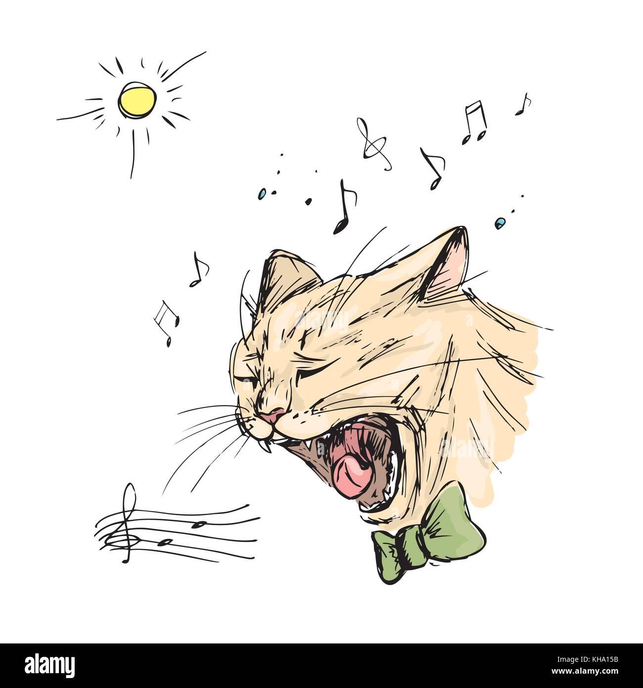 Cat sings, hand drawing - Stock Vector