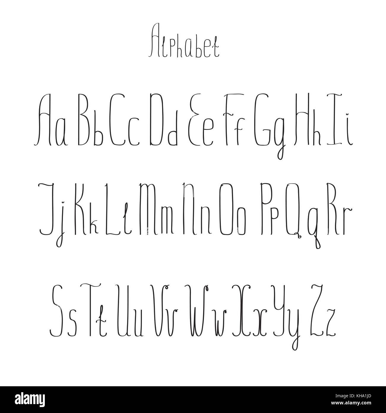 Vector alphabet. Hand drawn letters on white background - Stock Vector