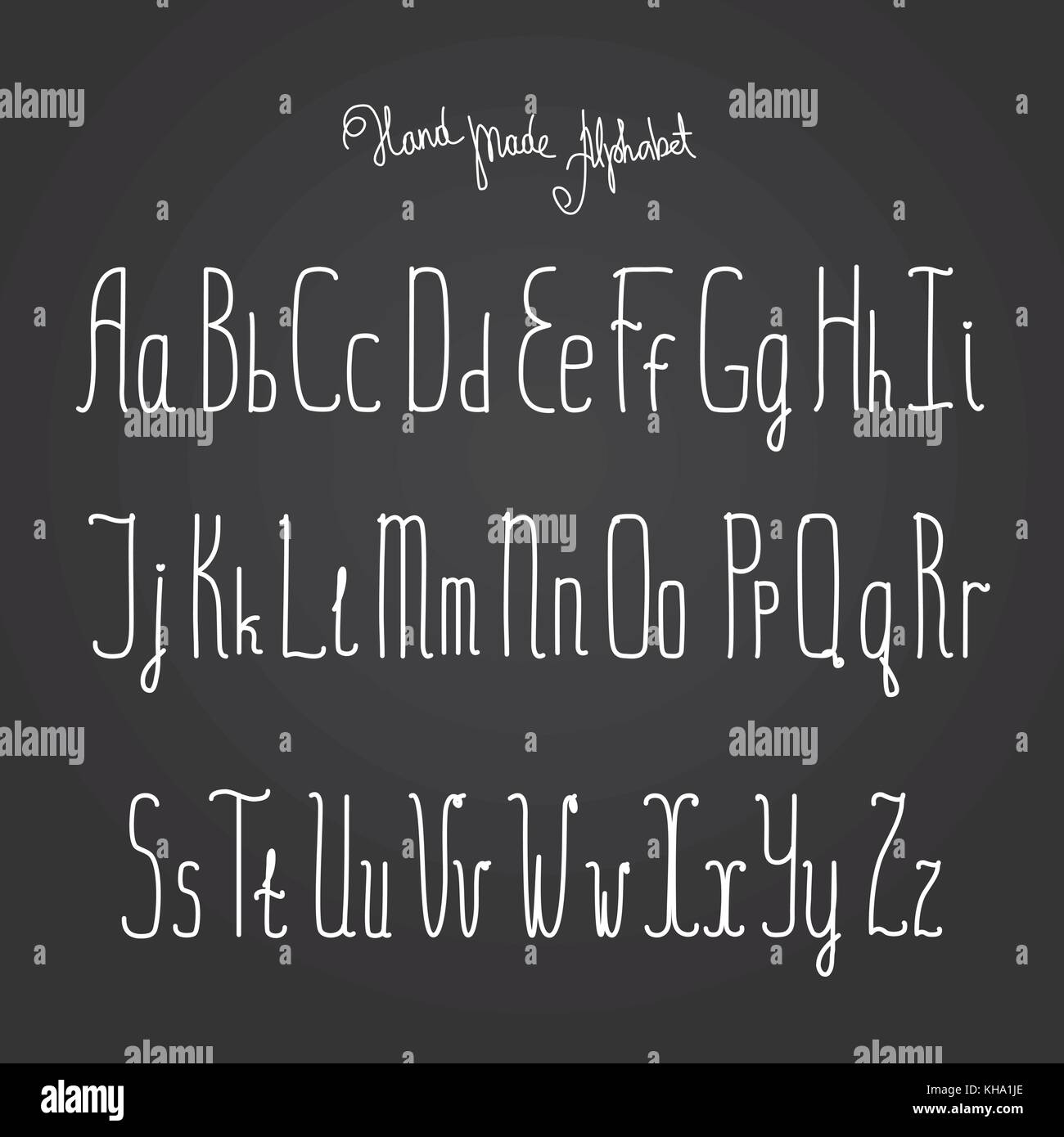 Vector alphabet. Hand drawn letters on black background. - Stock Vector
