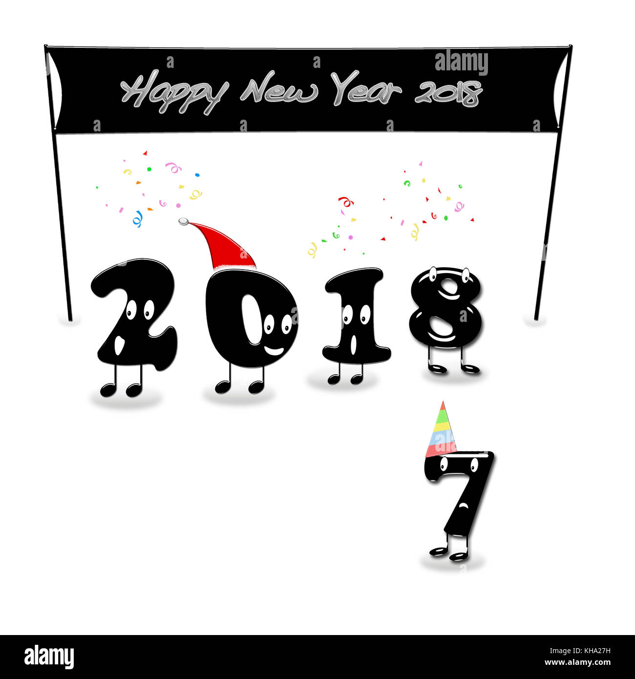 cartoon of 2018 numerals with text happy new year 3d rendering stock image