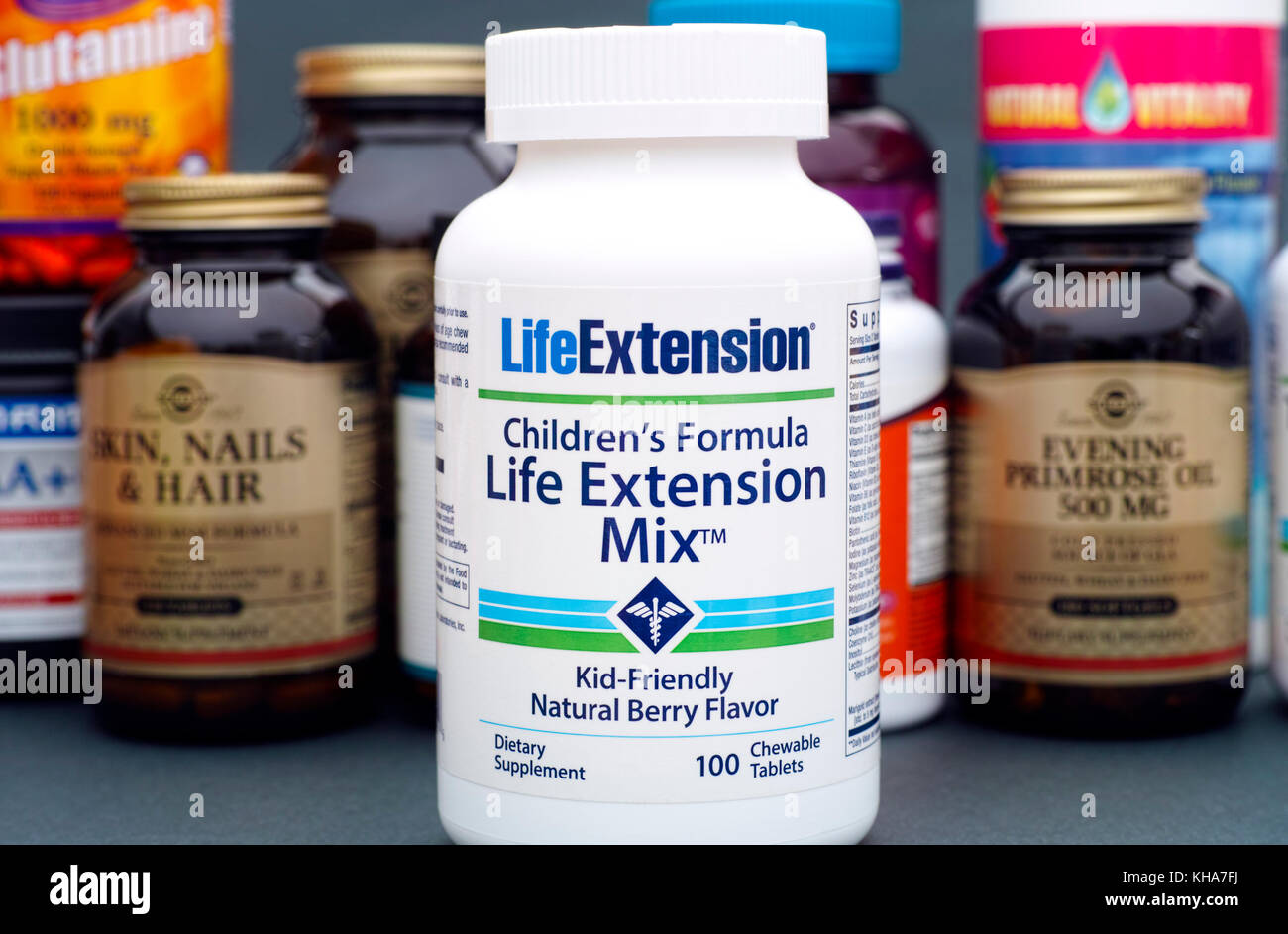 Tambov, Russian Federation - August 22, 2017 Life Extension Mix bottle with chidren multivitamins by LifeExtensian. - Stock Image