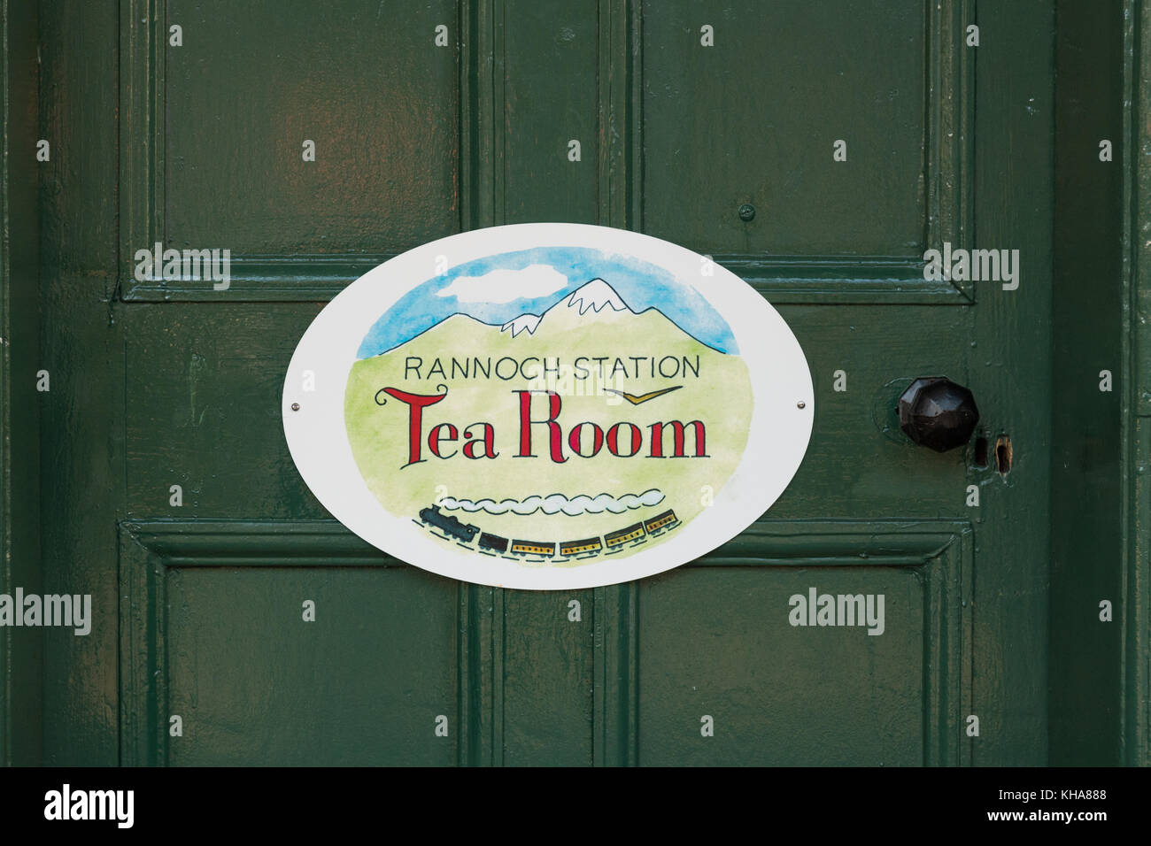Rannoch Station Tea Room sign, Rannoch Moor, Perth and Kinross, Scotland, UK - Stock Image