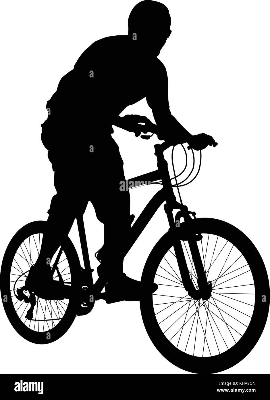 mtb cyclist silhouette - vector - Stock Image