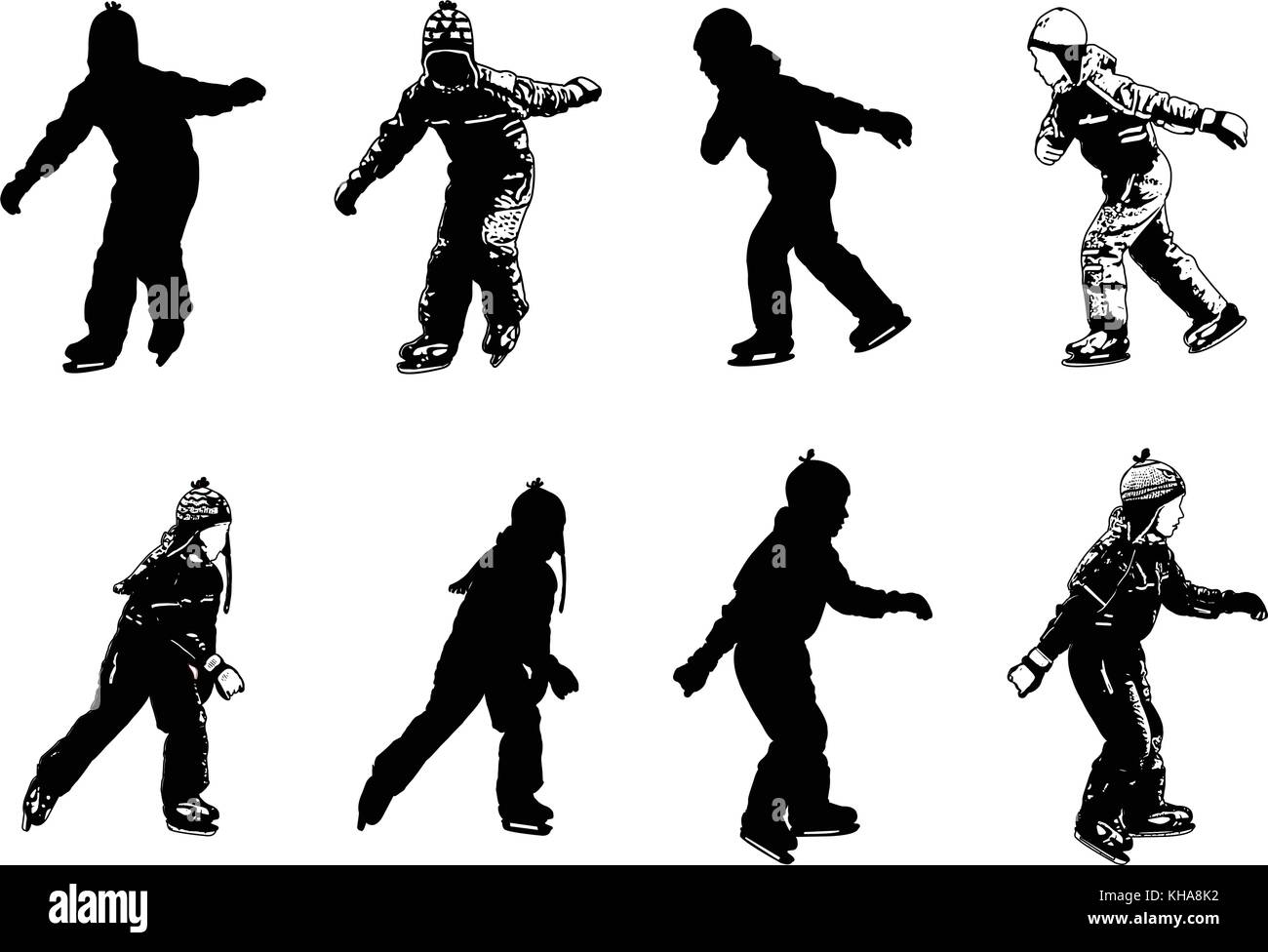 ice skating kids silhouettes - vector Stock Vector