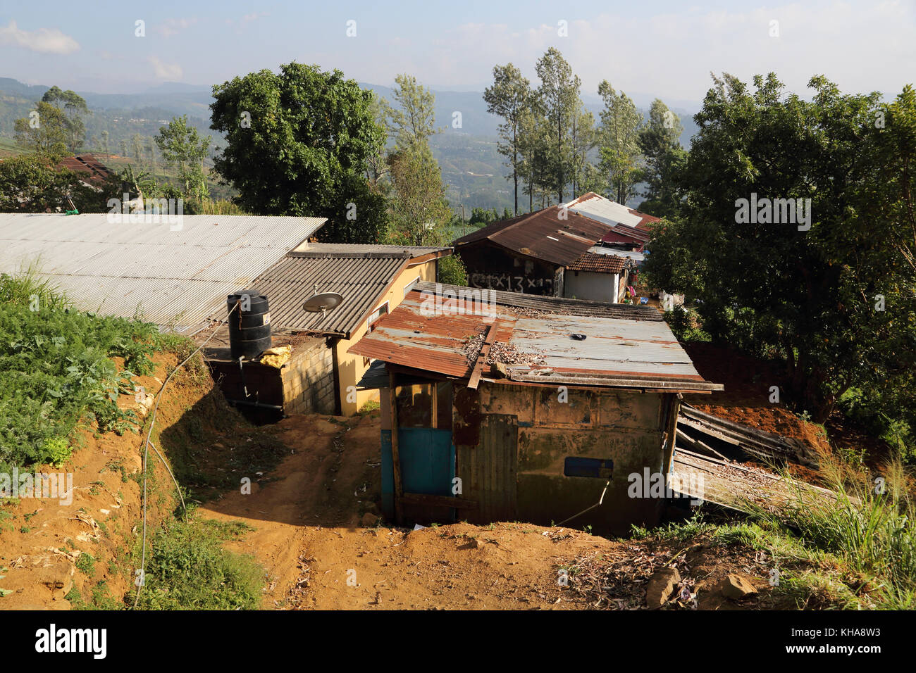 Hill Country Central Province Sri Lanka Shanty Houses - Stock Image