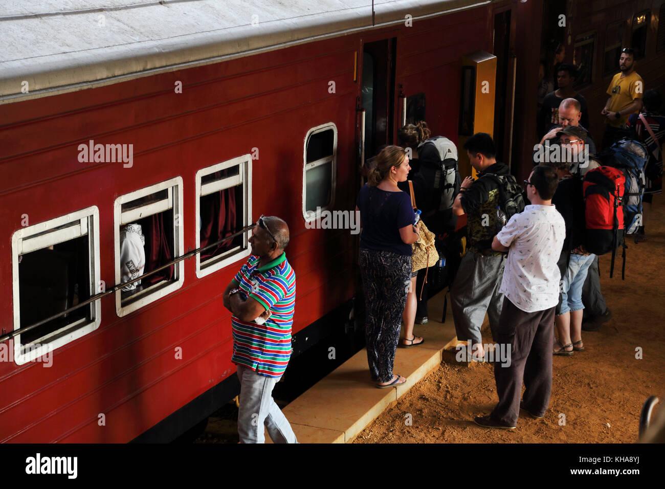 Peradeniya Junction Station Kandy Central Province Sri Lanka Passengers Boarding train Stock Photo