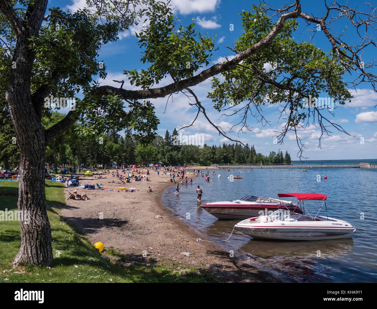 Main beach and mooring area at Wasagaming, Riding Mountain National Park, Manitoba, Canada. - Stock Image