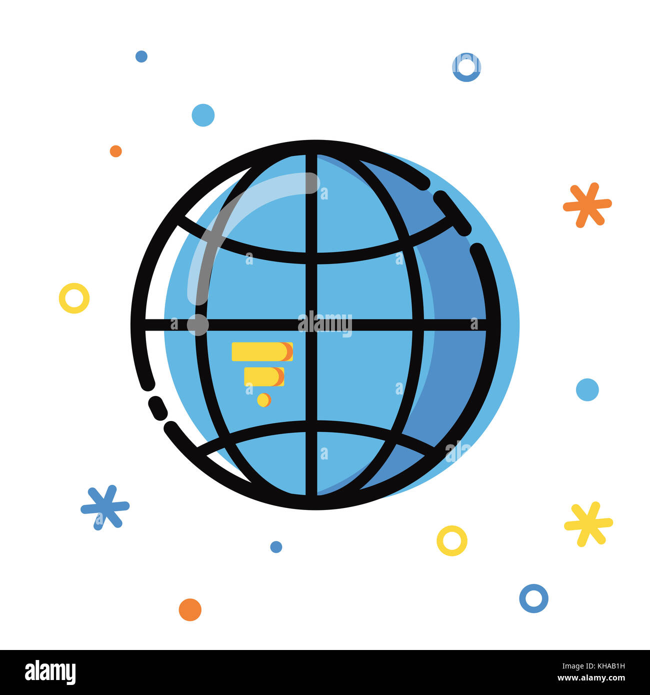 Line art flat Style illustration. Global application development, business and information. Icons and elements collection. - Stock Image