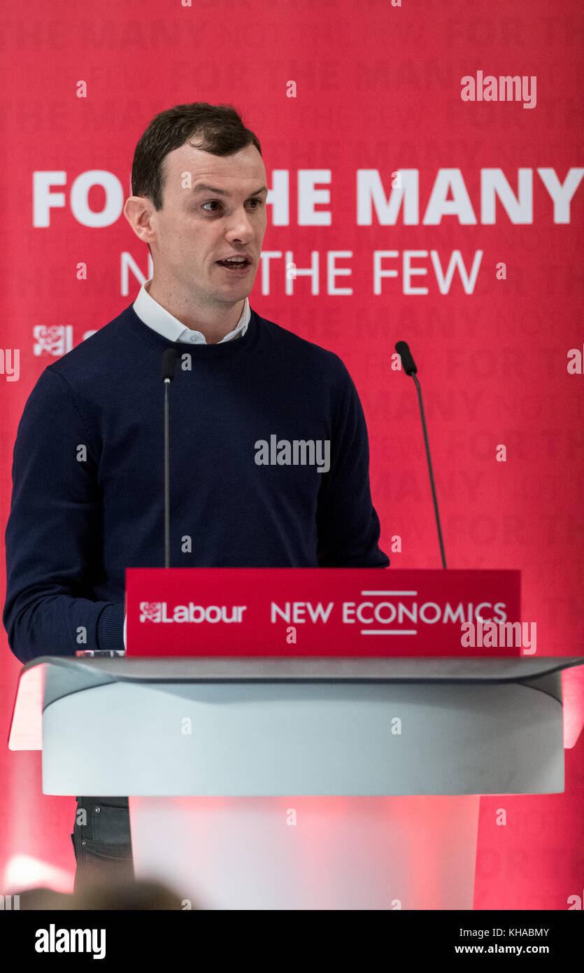 Andrew Towers Head of Political Strategy at the Communication Workers Union at a Labour party conference on the - Stock Image