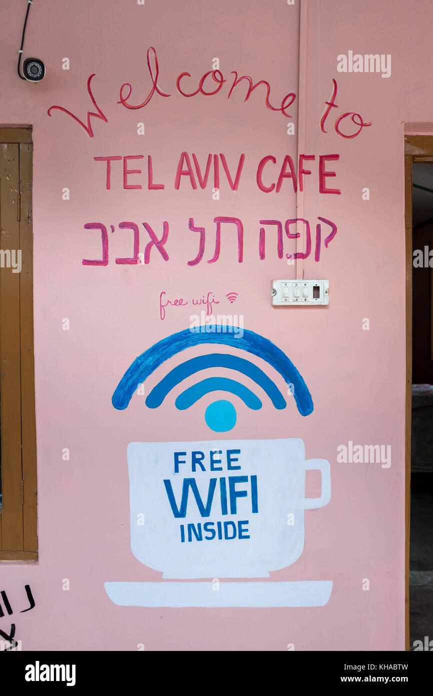 Tel Aviv cafe in Dharamkot near Dharamsala, restaurants adapts to the importance of Israeli tourist flow, India - Stock Image