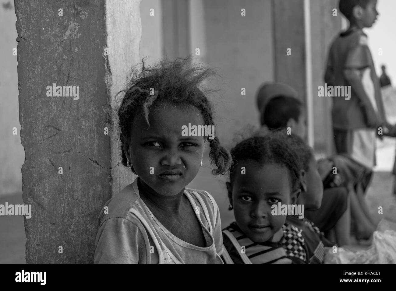 Two African children looking towards to camera. Taken in Mali. Stock Photo
