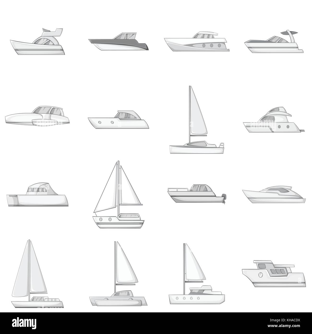 Yachts icons set, monochrome style Stock Vector