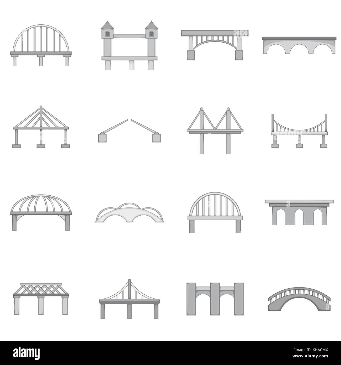 Bridge construction icons set, monochrome style - Stock Image