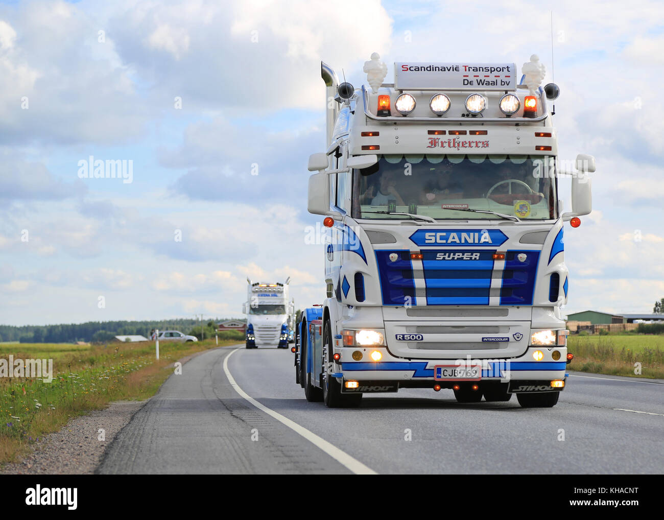 LUOPAJARVI, FINLAND - AUGUST 6, 2015: Scania R500 V8 of RG Trans takes part in the truck convoy to Power Truck Show - Stock Image