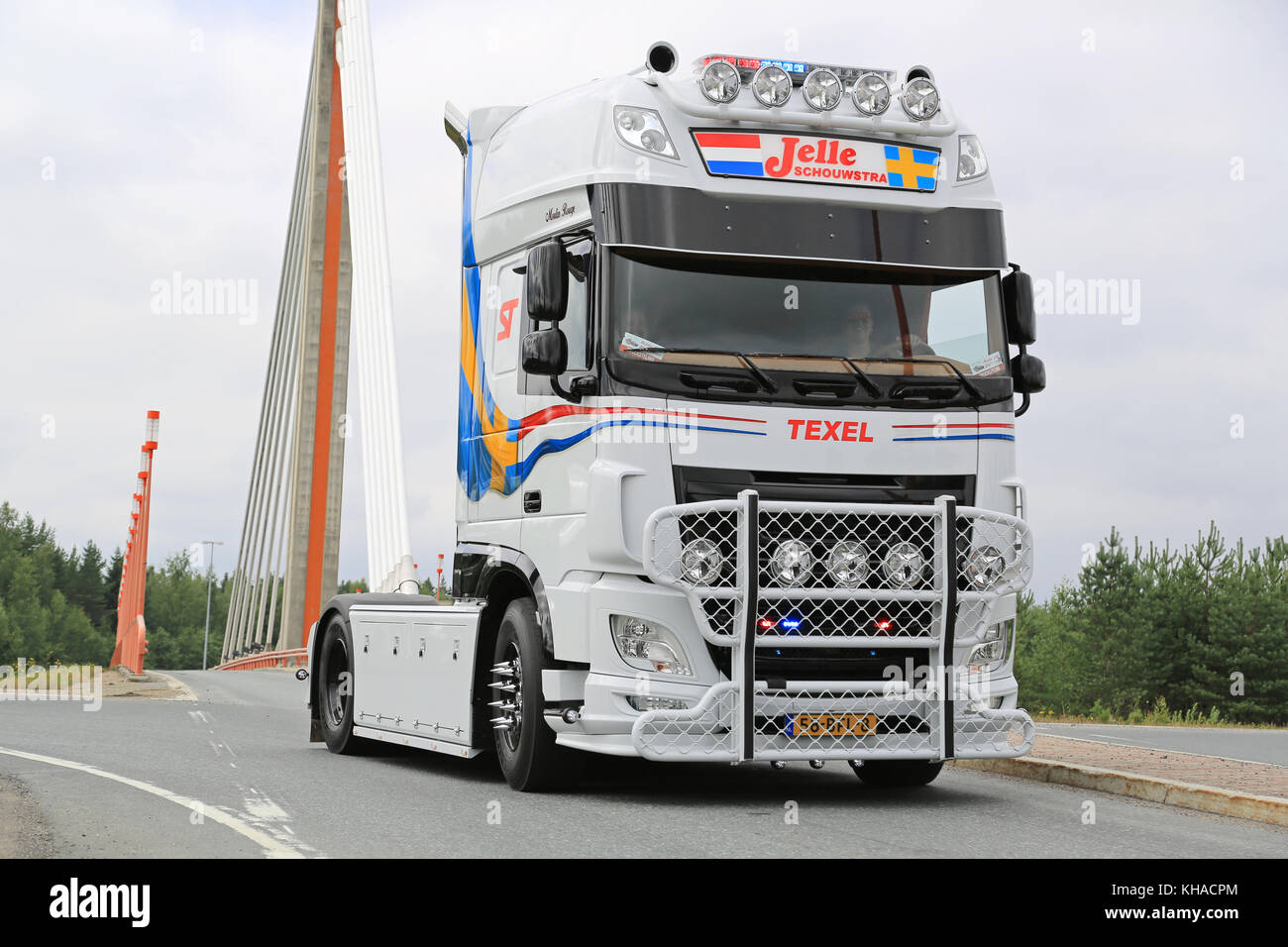 LEMPAALA, FINLAND - AUGUST 6, 2015: DAF XF Jelle Schouwstra takes part in the truck convoy to Power Truck Show 2015 - Stock Image