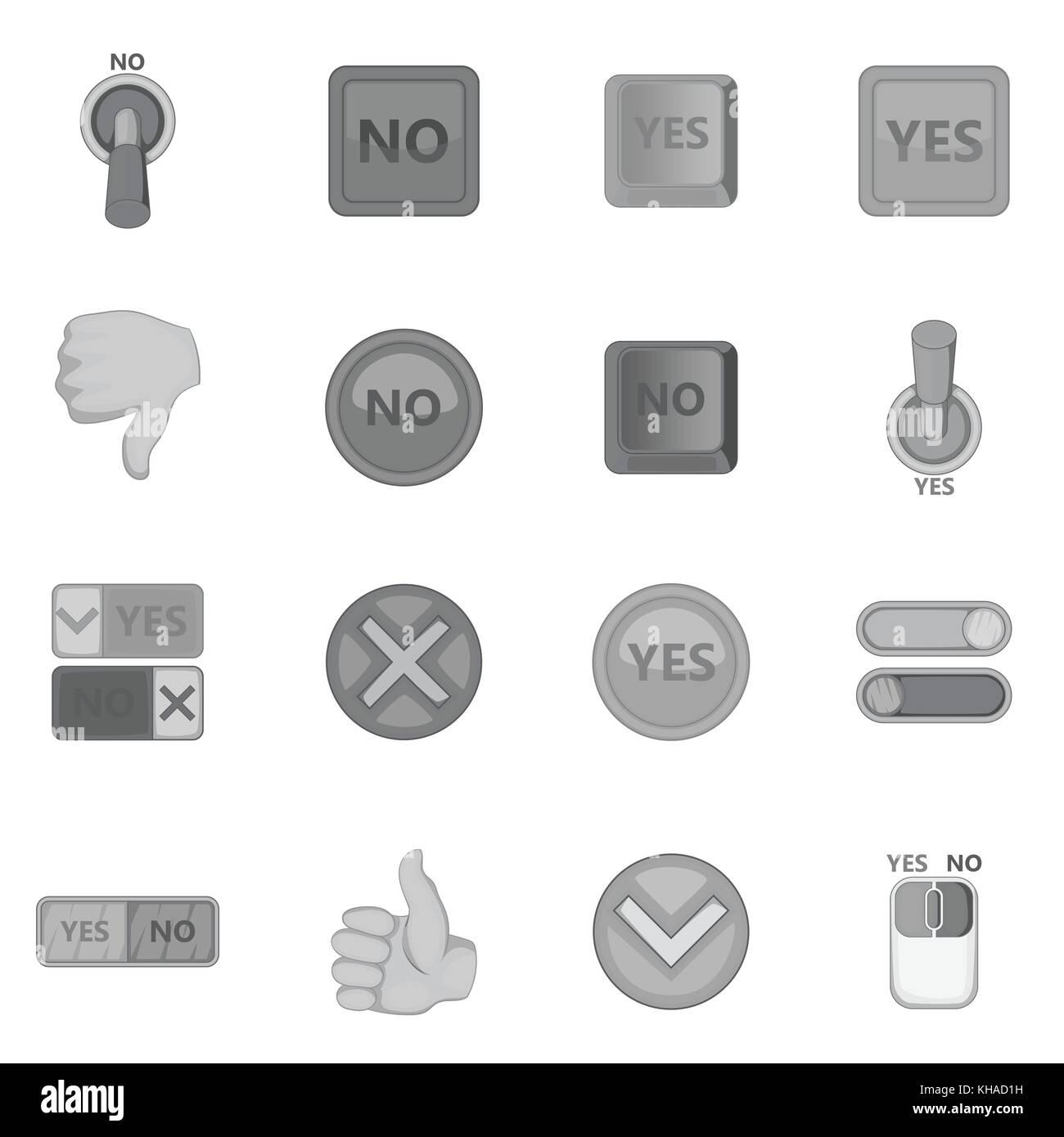 Yes no icons set, monochrome style - Stock Image