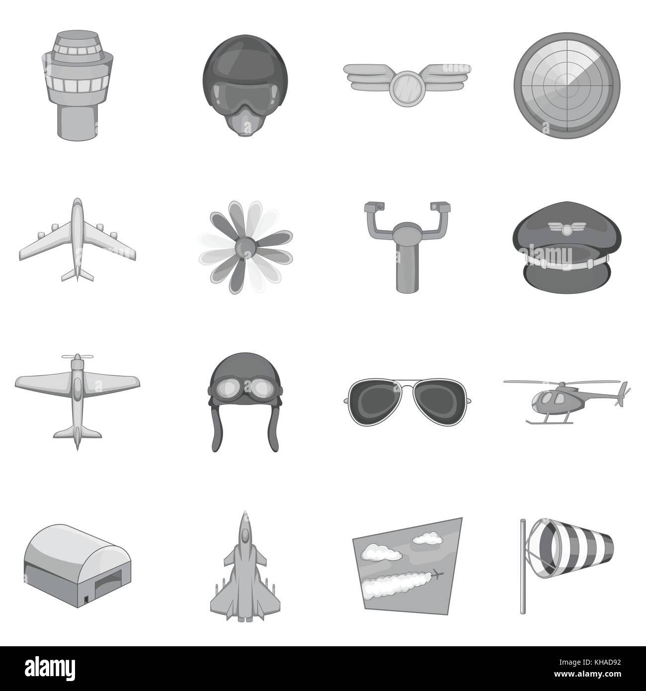 Aviation icons set, monochrome style Stock Vector