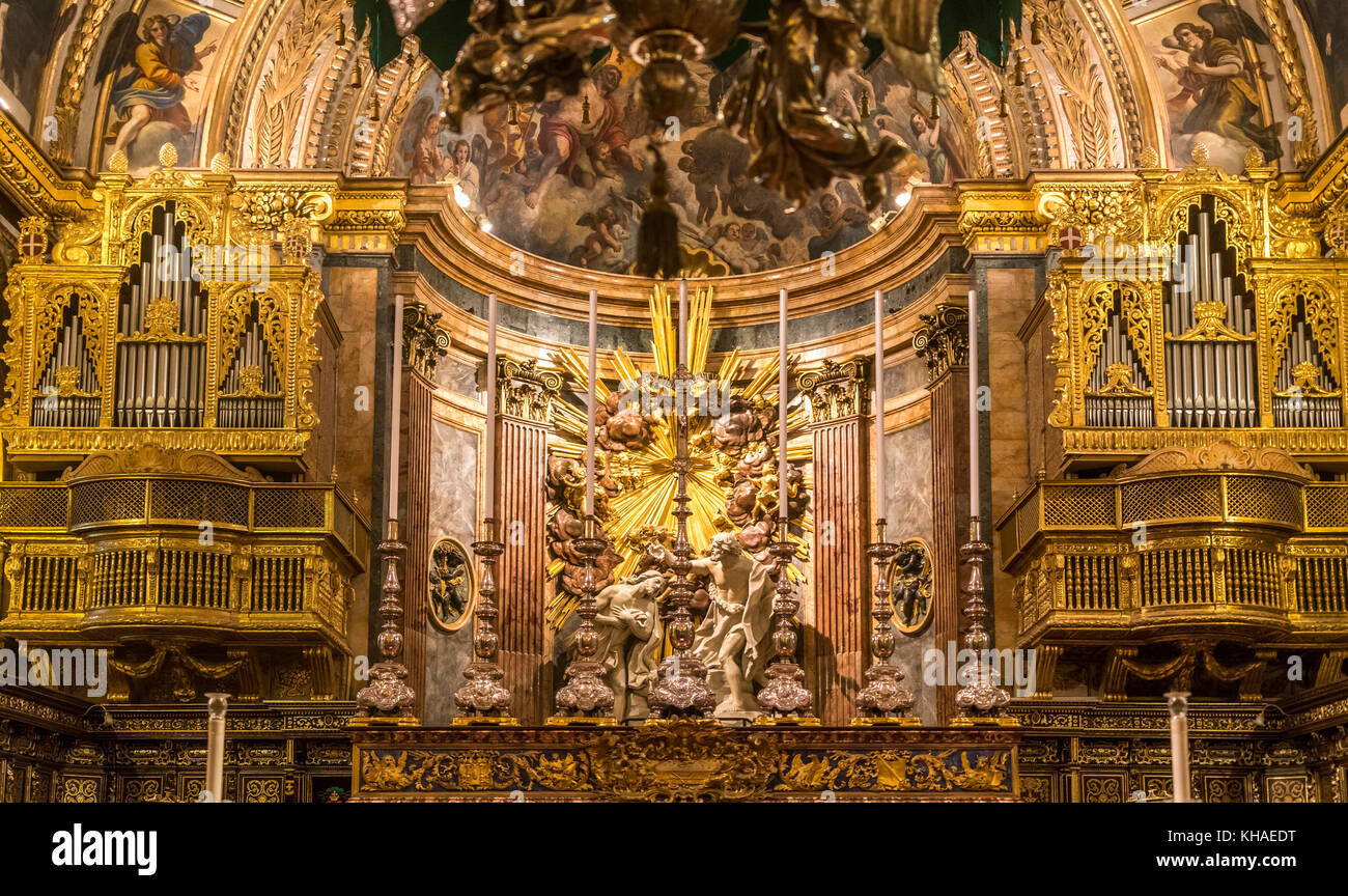 Magnificent organ loft with Saint Trinity, St. John's Co-Cathedral, Valletta, Malta - Stock Image