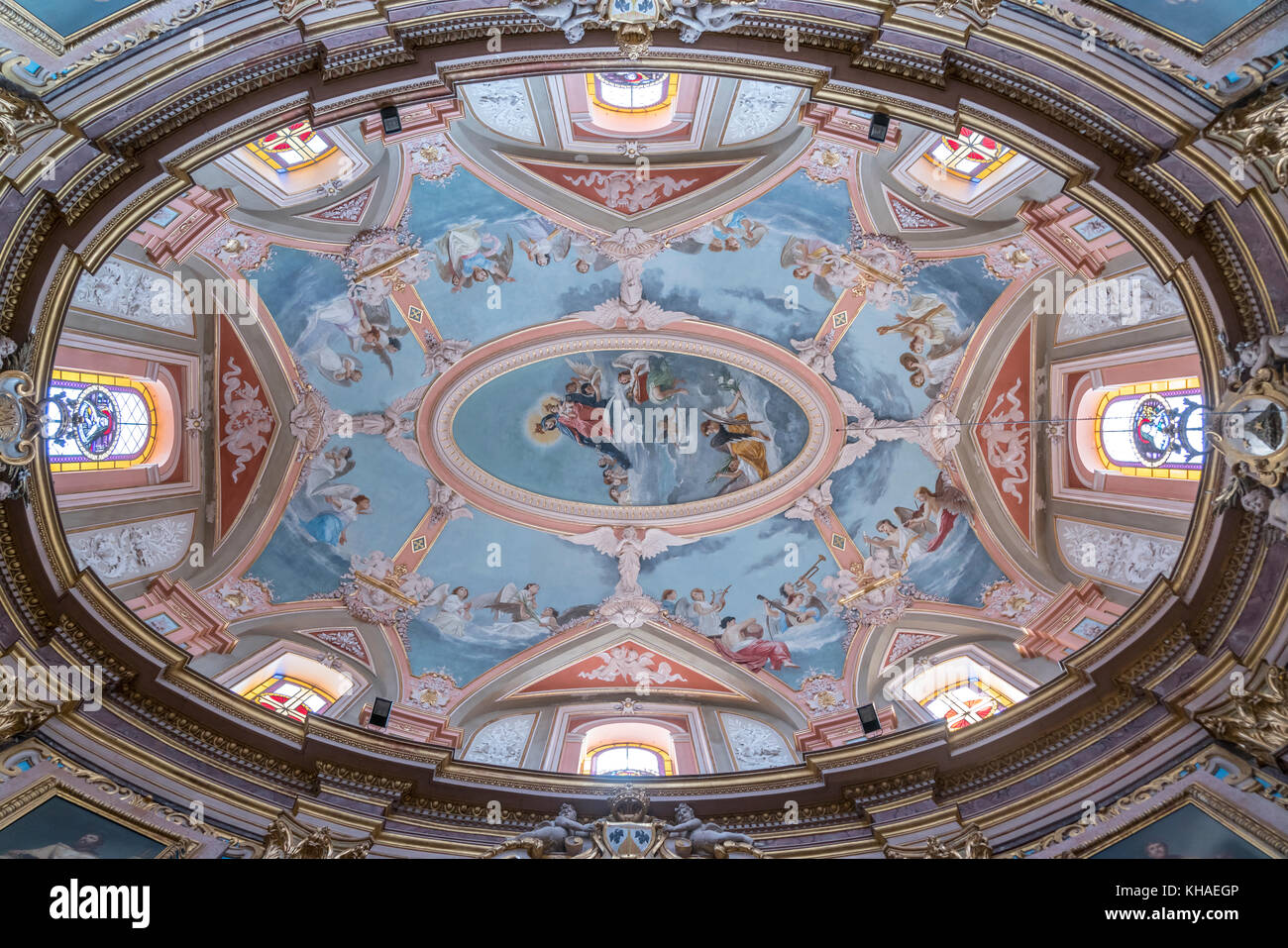 Ceiling painting, dome, Carmelite church, Mdina, Malta Stock Photo