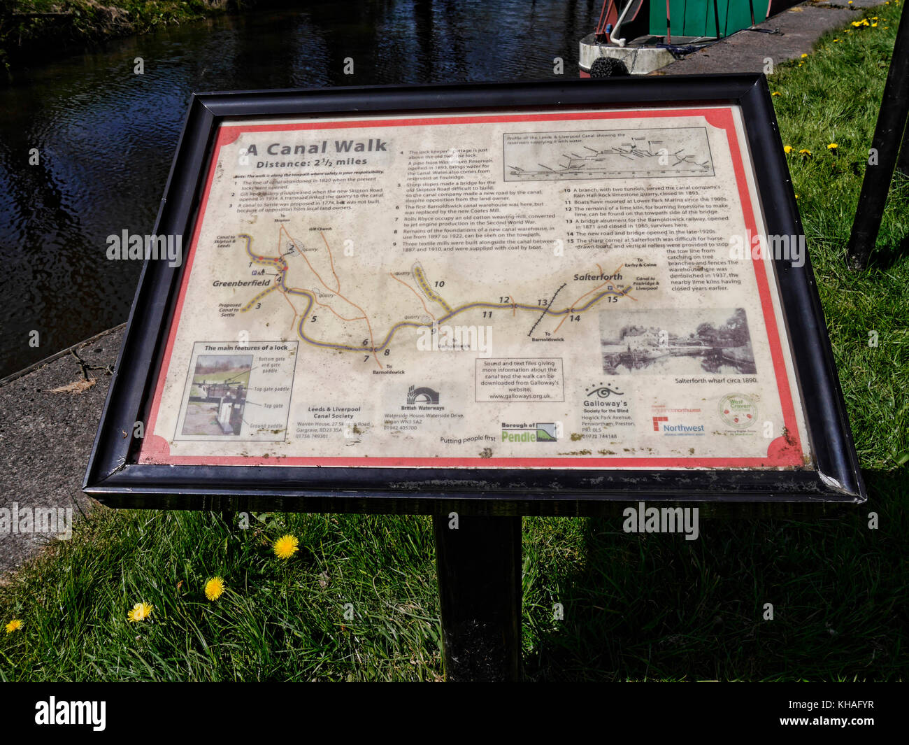 Noticeboard on the Leeds Liverpool Canal at Barnoldswick in Lancashire England - Stock Image