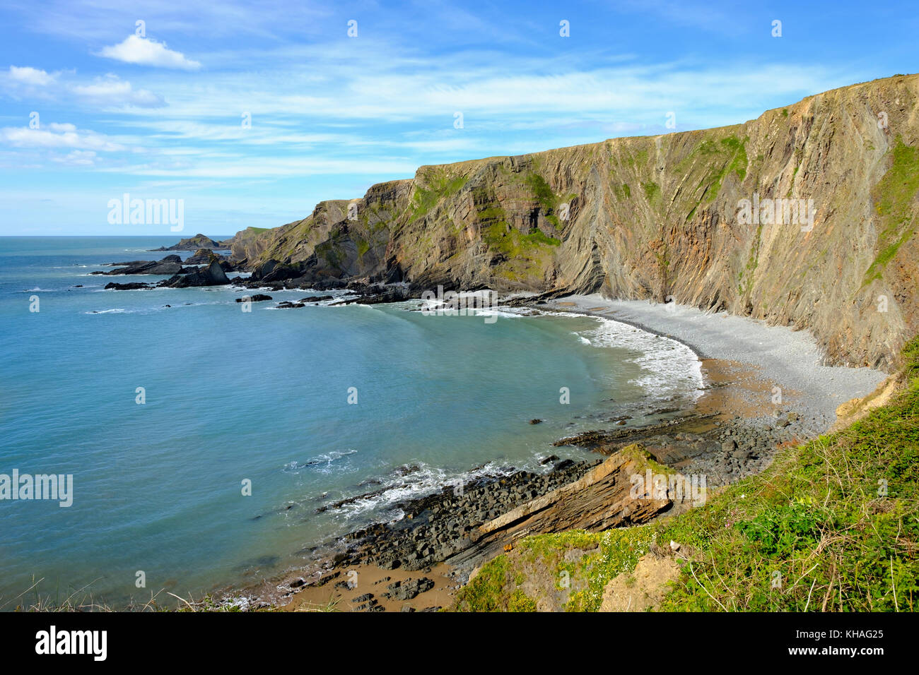 Rocky coast, Warren Beach near Hartland Quay, Hartland, Lundy Island, Devon, England, Great Britain - Stock Image