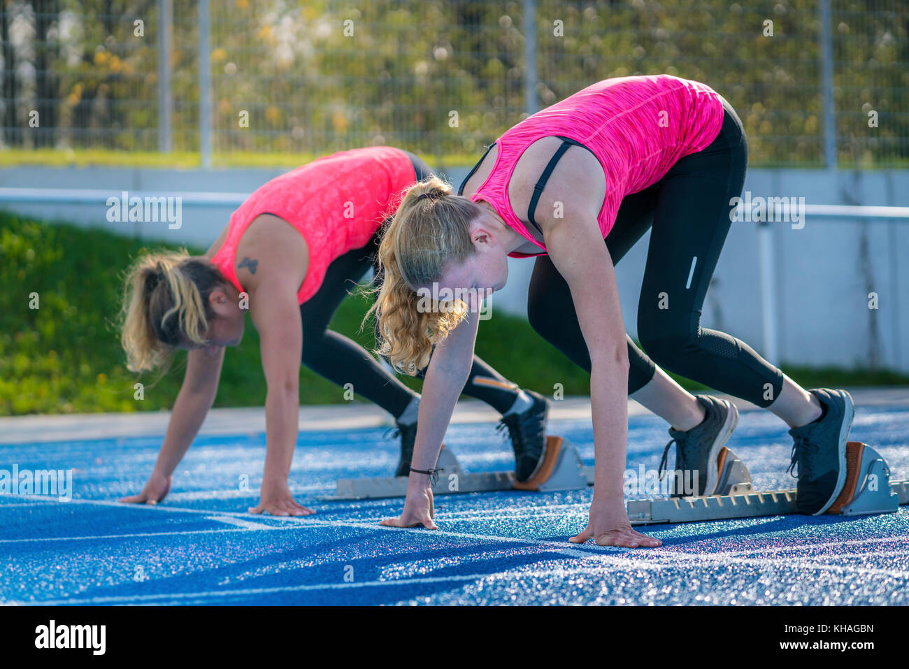 Women, athletics, sprint start - Stock Image