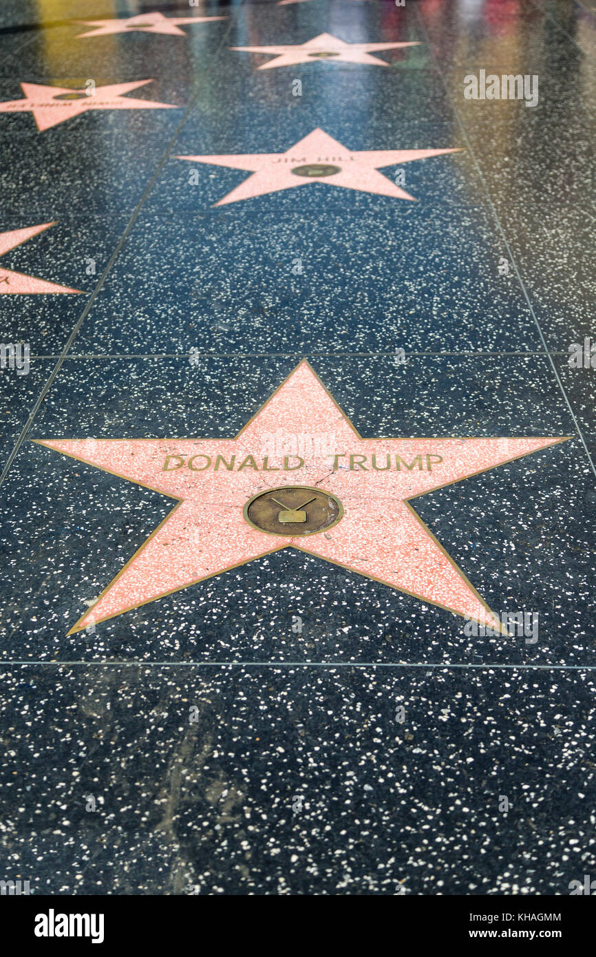 Star Donald Trump on the Walk of Fame, Hollywood Boulevard, Hollywood, Los Angeles, California, USA - Stock Image