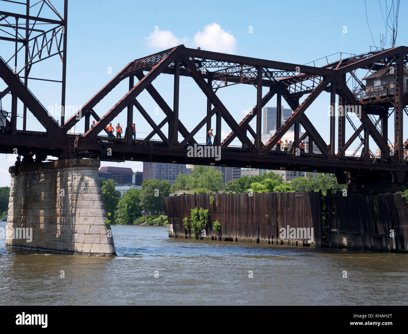 Livingston Avenue Bridge, Albany, New York. Workmen engaged in preliminary engineering to determine whether to rehabilitate - Stock Image